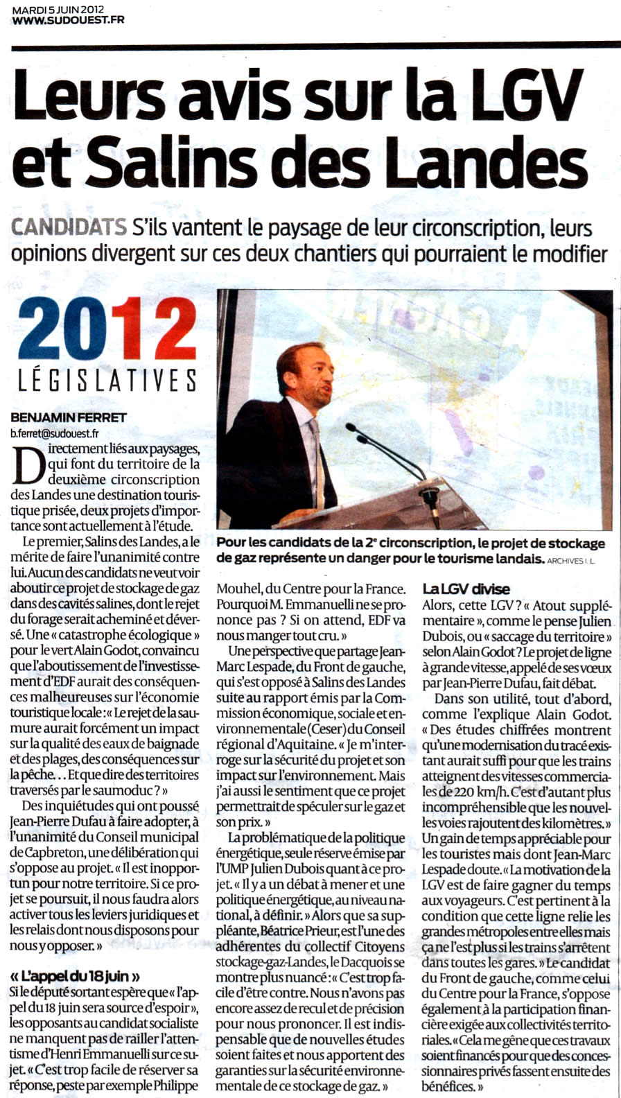 Candidats stockege-gaz-landes.net contre Salins des Lande