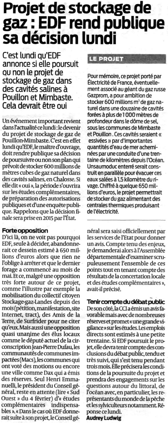 Stockage-gaz-landes.net - Forte opposition au projet d'EDF