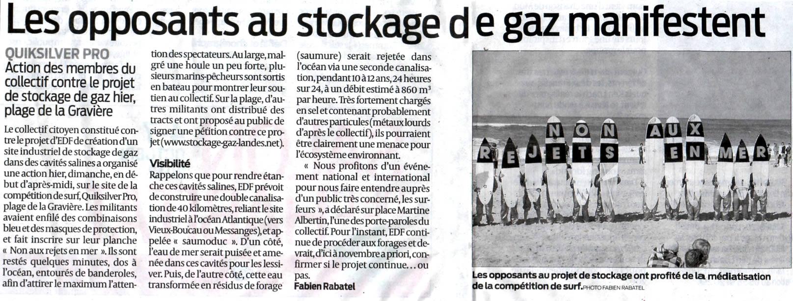 Stockage-gaz-landes.net - Salins des Landes - Les opposants au stockage de gaz manifestent