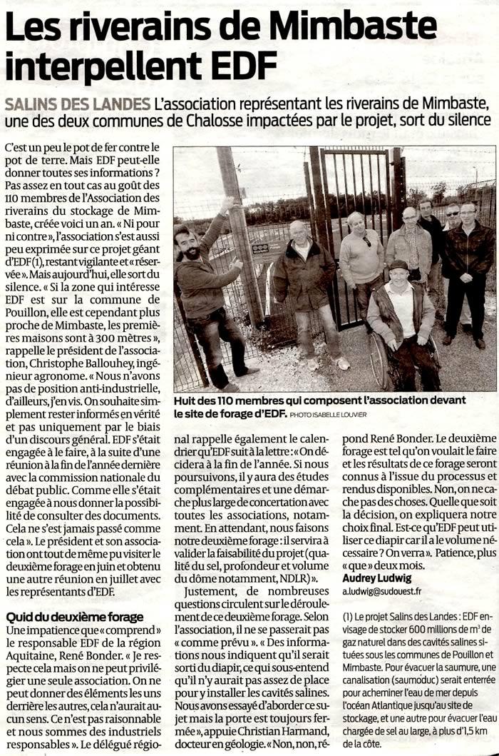 Stockage-gaz-landes.net - Salins des Landes - Les riverains de Mimbaste interpellent EDF