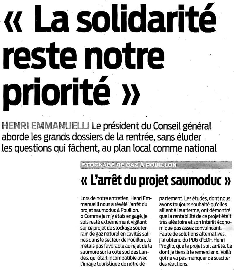 Stockage-gaz-landes.net - Salins des Landes - « L'arrête du projet saumoduc »