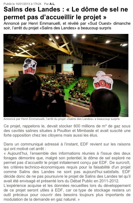 Stockage-gaz-landes.net - Salins des Landes - « « Le dôme de sel ne permet pas d'accueillir le projet » »