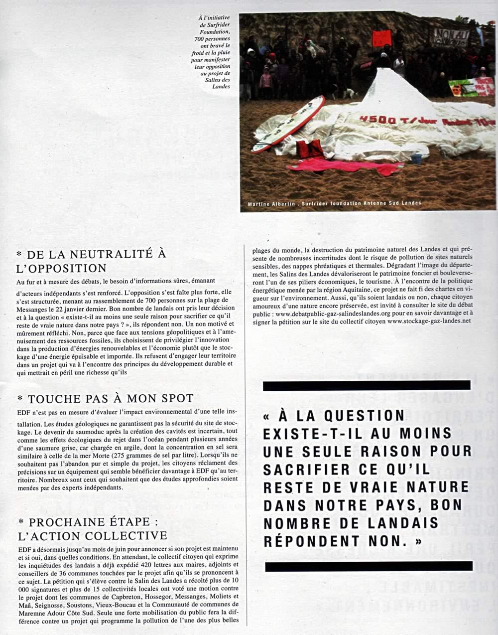 SURF FM journal du juin - projet d'EDF Salins des Landes